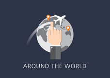 Around the world concept flat icon Royalty Free Stock Images