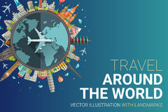 Around the world flat design postcard illustration Royalty Free Stock Images