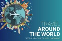 Around the world flat design postcard illustration Royalty Free Stock Images