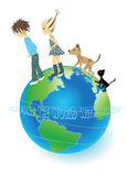 Around the world with friends. Enthralling trip around the world with friends stock illustration