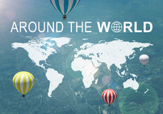 Around The World header. Contoured map of world continents, inscription Around The World and related symbol. Aerial view of inhabited terrain with few air Royalty Free Stock Photography