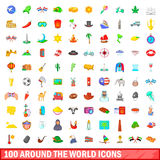 100 around the world icons set, cartoon style. 100 around the world icons set in cartoon style for any design vector illustration Royalty Free Stock Image