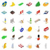 Around the world icons set, isometric style. Around the world icons set. isometric style of 36 around the world vector icons for web isolated on white background Stock Image