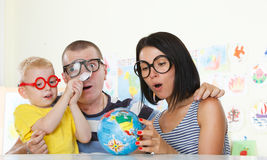 Around the World with magnifier Stock Images