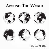 Around the world outline of world map with latitude and longitude vector illustration