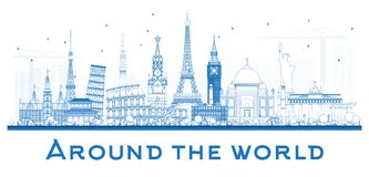 Around the World OutlineTravel Concept with Famous International Royalty Free Stock Image
