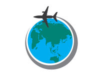 Around the world by a plane Stock Photo