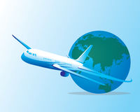 Around the world by a plane Royalty Free Stock Image