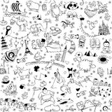 Around the World seamless pattern in black and white royalty free stock photography