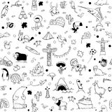 Around the World seamless pattern in black and white royalty free stock photos