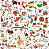 Around the World seamless pattern in colors on white background stock photos