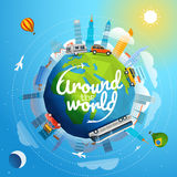 Around the world tour by different vehicle. Travel concept vector illustration with logo royalty free illustration