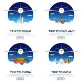 Around the World. Tourism. Set Travelling illustration. Modern flat design. Travel by airplane, vacation, adventure, trip. Stock Photography