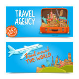 Around the world travel agency horizontal banners Royalty Free Stock Photography