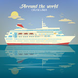 Around the World Travel Banner with Cruise Liner Royalty Free Stock Photo