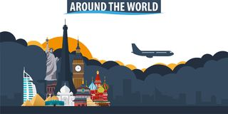 Around the World. Travel and Tourism banner. Clouds and sun with. Airplane on the background Stock Photography