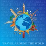 Around the world travel and tourism royalty free illustration