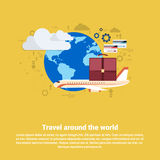 Around World Travel Tourism Web Banner Stock Photos