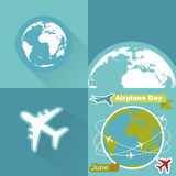 Around the world travelling by airplane. Around the world travelling by plane, airplane trip in various country, travel pin location on a global map. Flat icon stock illustration