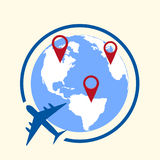 Around the world travelling by plane concept, travel pin location on a global map. Flat design Vector Stock Images