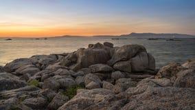 Arousa海岛的风景在加利西亚 库存照片