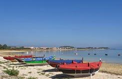 Arousa Island boats on the beach Bao Norte. Pontevedra province, Galicia, Spain Royalty Free Stock Image