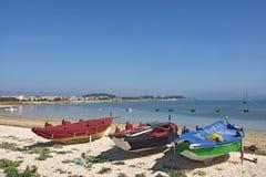 Arousa Island boats on the beach Praia Boa Norte,. Pontevedra province, Galicia, Spain Stock Photography