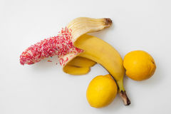 Aroused phallus with big ball, closeup. Sexy penis banana  Royalty Free Stock Image