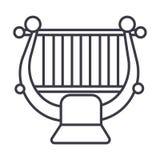 Arpa, corda, linea icona, segno, illustrazione di vettore di musica classica su fondo, colpi editabili illustrazione vettoriale