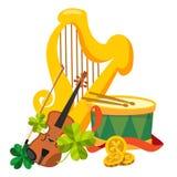 Arpa dorata, tamburo, violino Fotografia Stock