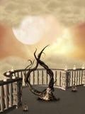 Arpa en el balcón ilustración del vector