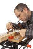 Сarpenter z calipers. Zdjęcie Royalty Free
