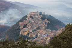 Arpino at sunset, as seen from Acropolis of Civitavecchia di Arpino, Italy Stock Photo