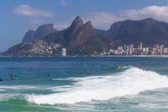 Arpoador beach, Rio de Janeiro. Landscape of Arpoador beach seeing Ipanema, Leblon and mountains of Rio de Janeiro, Brazil Stock Photography