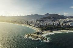 Arpoador penisula between Ipanema and Copacabana Beach Stock Photo