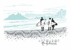 Arpoador, Rio de Janeiro illustration stock