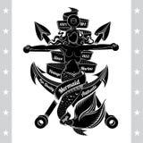 Arpones cruzados y sirena crucificados en el ancla Marine Vintage libre illustration