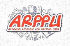 ARPPU - Röd inskrift för klotter äganderätt för home tangent för affärsidé som guld- ner skyen till Royaltyfria Bilder