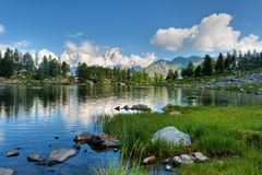 Arpy lake, Aosta Valley stock photography