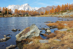 Arpy lake with autumn colors Stock Images