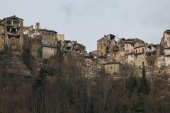 Arquata del Tronto χωριό που καταστρέφεται από το σεισμό Στοκ φωτογραφίες με δικαίωμα ελεύθερης χρήσης