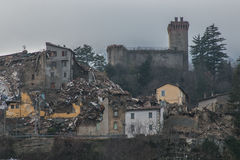 Arquata del Tronto destroyed by the earthquake of August 24, 2016 Stock Image