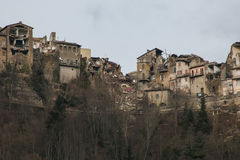 Arquata del Tronto village destroyed by earthquake Royalty Free Stock Photos