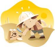 Arqueólogo del niño pequeño que explora alguno ruinas