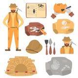 Arqueólogo e iconos planos del color de la arqueología fijados stock de ilustración