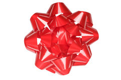 Arqueamiento grande del regalo, rojo brillante, aislado en blanco Imagen de archivo