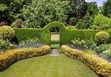 Arqueie através de um hedgerow em um jardim inglês fotografia de stock