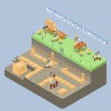 Arqueología Compositon isométrico stock de ilustración