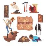 Arqueología y sistema de la paleontología, científico Working en excavaciones, ejemplo arqueológico del vector de los artefactos ilustración del vector