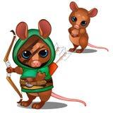 Arquero del ratón en verde y cara con color de la batalla Imagen de archivo libre de regalías